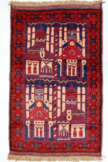 Belutsch Teppich - 145 x 87 cm - blau