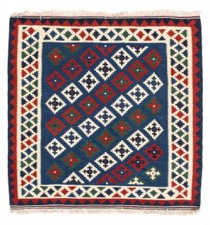 Morgenland Kelim Teppich - Oriental quadratisch - 100 x 100 cm - dunkelblau