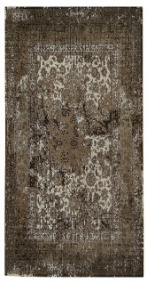 Vintage Teppich Viskose Abstrakt Kurzflor Boho Läufer Fusselfrei Handgearbeitet