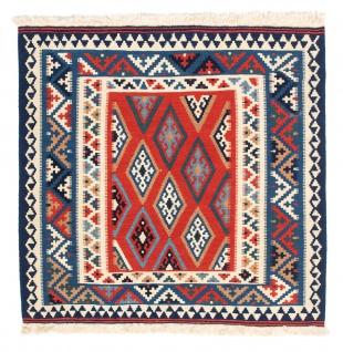 Morgenland Kelim Teppich - Oriental quadratisch - 100 x 98 cm - blau