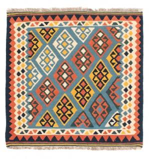 Morgenland Kelim Teppich - Oriental quadratisch - 100 x 98 cm - hellblau
