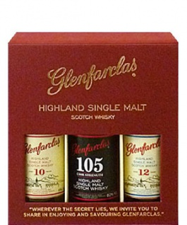 "Glenfarclas Probierpack 10. 12 Jahre und 105 Cask Strength "" Where the Secret lies"" 3x 0.05 L"