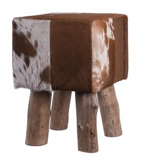 Fell-Hocker Holzfuß quadratisch