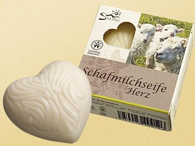 """Schafsmilchseife Herz weiß """" zertifiziert"""""""
