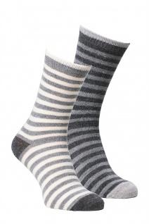 Alpaka Socken 2-er Pack Kinder, gestreift