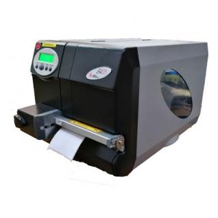 Novexx Solution 64-05 Gebrauchter Etikettendrucker mit LAN, Seriell, Parallel, USB, Cutter 300 dpi nur 19, 09 km gedruckt