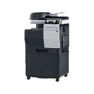 Konica Minolta bizhub C3350, gebrauchtes Multifunktionsgerät 10.928 Blatt gedruckt mit Unterschrank DK-P03 Alle Trommeln NEU