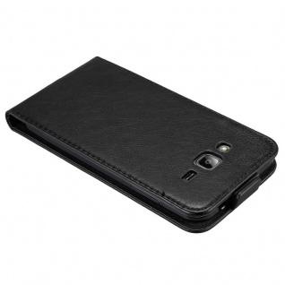 Cadorabo Hülle für Samsung Galaxy J3 / J3 DUOS 2016 in NACHT SCHWARZ - Handyhülle im Flip Design mit unsichtbarem Magnetverschluss - Case Cover Schutzhülle Etui Tasche Book Klapp Style - Vorschau 3
