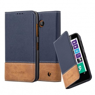 Cadorabo Hülle für Nokia Lumia 630 in BLAU BRAUN ? Handyhülle mit Magnetverschluss, Standfunktion und Kartenfach ? Case Cover Schutzhülle Etui Tasche Book Klapp Style