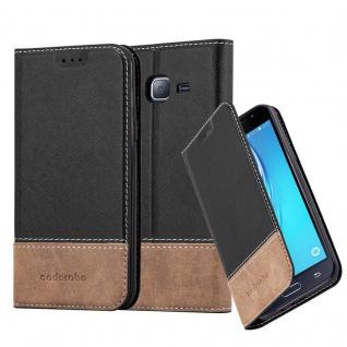 Cadorabo Hülle für Samsung Galaxy J3 / J3 DUOS 2016 in SCHWARZ BRAUN - Handyhülle mit Magnetverschluss, Standfunktion und Kartenfach - Case Cover Schutzhülle Etui Tasche Book Klapp Style