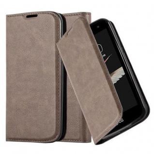 Cadorabo Hülle für LG K4 2016 in KAFFEE BRAUN - Handyhülle mit Magnetverschluss, Standfunktion und Kartenfach - Case Cover Schutzhülle Etui Tasche Book Klapp Style