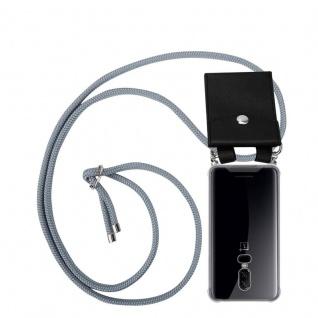 Cadorabo Handy Kette für OnePlus 6 in SILBER GRAU - Silikon Necklace Umhänge Hülle mit Silber Ringen, Kordel Band Schnur und abnehmbarem Etui - Schutzhülle