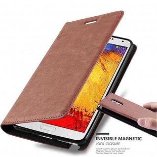 Cadorabo Hülle für Samsung Galaxy NOTE 3 - Hülle in CAPPUCCINO BRAUN ? Handyhülle mit Magnetverschluss, Standfunktion und Kartenfach - Case Cover Schutzhülle Etui Tasche Book Klapp Style