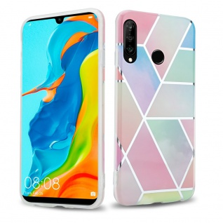 Cadorabo Hülle für Huawei P30 LITE Hülle in Regenbogen Marmor No.11 Handyhülle aus TPU Silikon mit Muster Mosaik Silikonhülle Schutzhülle Ultra Slim Back Cover Case Bumper