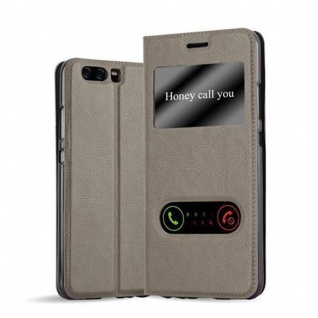 Cadorabo Hülle für Huawei P10 in STEIN BRAUN - Handyhülle mit Magnetverschluss, Standfunktion und 2 Sichtfenstern - Case Cover Schutzhülle Etui Tasche Book Klapp Style