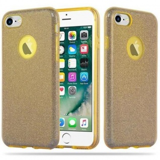 Cadorabo Hülle für Apple iPhone 7 / 7S / 8 / SE 2020 - Hülle in STERNENSTAUB GOLD ? TPU Silikon und Hardcase Handyhülle im Glitzer Design - Hard Case TPU Silikon Schutzhülle