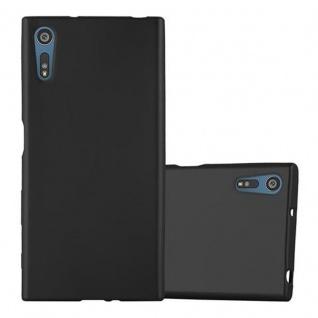 Cadorabo Hülle für Sony Xperia XZ / XZs - Hülle in METALLIC SCHWARZ ? Handyhülle aus TPU Silikon im Matt Metallic Design - Ultra Slim Soft Backcover Case Bumper