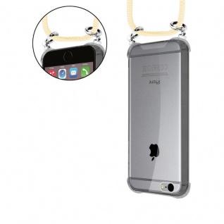 Cadorabo Handy Kette für Apple iPhone 6 PLUS / iPhone 6S PLUS in CREME BEIGE - Silikon Necklace Umhänge Hülle mit Silber Ringen, Kordel Band Schnur und abnehmbarem Etui - Schutzhülle - Vorschau 5