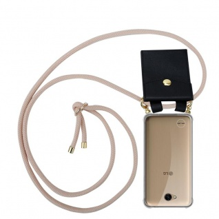 Cadorabo Handy Kette für LG X Power 2 in PERLIG ROSÉGOLD - Silikon Necklace Umhänge Hülle mit Gold Ringen, Kordel Band Schnur und abnehmbarem Etui ? Schutzhülle