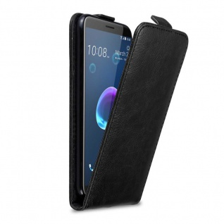 Cadorabo Hülle für HTC Desire 12 in NACHT SCHWARZ Handyhülle im Flip Design mit Magnetverschluss Case Cover Schutzhülle Etui Tasche Book Klapp Style