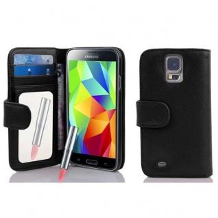 Cadorabo Hülle für Samsung Galaxy S5 / S5 NEO - Hülle in LAVA SCHWARZ ? Handyhülle mit Spiegel und Kartenfach - Case Cover Schutzhülle Etui Tasche Book Klapp Style