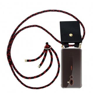 Cadorabo Handy Kette für Nokia 7 PLUS in SCHWARZ ROT Silikon Necklace Umhänge Hülle mit Gold Ringen, Kordel Band Schnur und abnehmbarem Etui Schutzhülle