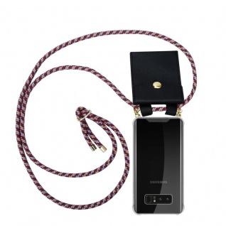 Cadorabo Handy Kette für Samsung Galaxy NOTE 8 in ROT GELB WEISS Silikon Necklace Umhänge Hülle mit Gold Ringen, Kordel Band Schnur und abnehmbarem Etui Schutzhülle