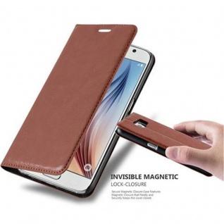 Cadorabo Hülle für Samsung Galaxy S6 in CAPPUCCINO BRAUN - Handyhülle mit Magnetverschluss, Standfunktion und Kartenfach - Case Cover Schutzhülle Etui Tasche Book Klapp Style
