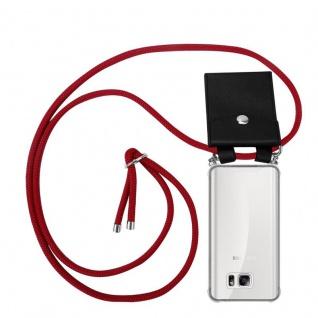 Cadorabo Handy Kette für Samsung Galaxy NOTE 5 in RUBIN ROT - Silikon Necklace Umhänge Hülle mit Silber Ringen, Kordel Band Schnur und abnehmbarem Etui - Schutzhülle
