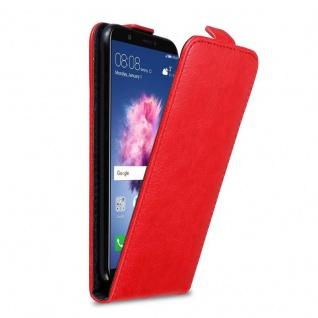 Cadorabo Hülle für Huawei P SMART / Enjoy 7S in APFEL ROT Handyhülle im Flip Design mit Magnetverschluss Case Cover Schutzhülle Etui Tasche Book Klapp Style
