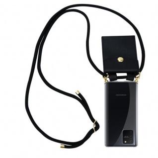 Cadorabo Handy Kette für Samsung Galaxy A91 in SCHWARZ Silikon Necklace Umhänge Hülle mit Gold Ringen, Kordel Band Schnur und abnehmbarem Etui Schutzhülle