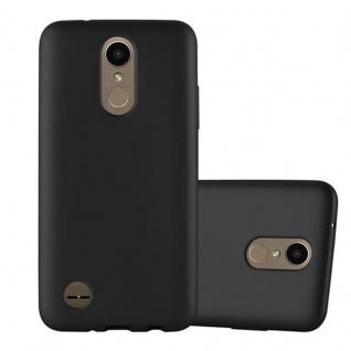 Cadorabo Hülle für LG K10 2017 in METALLIC SCHWARZ - Handyhülle aus flexiblem TPU Silikon - Silikonhülle Schutzhülle Ultra Slim Soft Back Cover Case Bumper