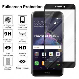 Cadorabo Vollbild Panzer Folie für Huawei P8 LITE 2017 - Schutzfolie in TRANSPARENT mit SCHWARZ - Gehärtetes (Tempered) Display-Schutzglas in 9H Härte mit 3D Touch Kompatibilität - Vorschau 4