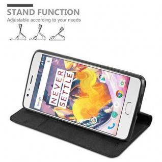 Cadorabo Hülle für OnePlus 3 / 3T in NACHT SCHWARZ - Handyhülle mit Magnetverschluss, Standfunktion und Kartenfach - Case Cover Schutzhülle Etui Tasche Book Klapp Style - Vorschau 4