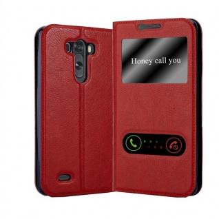Cadorabo Hülle für LG G3 in SAFRAN ROT Handyhülle mit Magnetverschluss, Standfunktion und 2 Sichtfenstern Case Cover Schutzhülle Etui Tasche Book Klapp Style