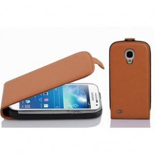 Cadorabo Hülle für Samsung Galaxy S4 MINI in COGNAC BRAUN - Handyhülle im Flip Design aus strukturiertem Kunstleder - Case Cover Schutzhülle Etui Tasche Book Klapp Style