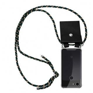 Cadorabo Handy Kette für Google Pixel 3 in CAMOUFLAGE Silikon Necklace Umhänge Hülle mit Silber Ringen, Kordel Band Schnur und abnehmbarem Etui Schutzhülle