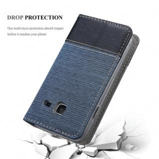 Cadorabo Hülle für Samsung Galaxy J1 MINI 2016 in DUNKEL BLAU SCHWARZ - Handyhülle mit Magnetverschluss, Standfunktion und Kartenfach - Case Cover Schutzhülle Etui Tasche Book Klapp Style - Vorschau 5