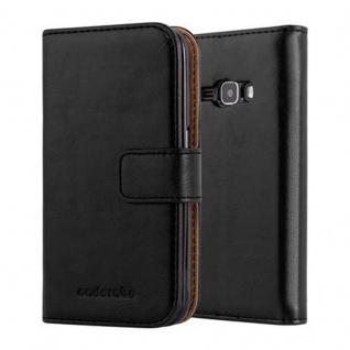 Cadorabo Hülle für Samsung Galaxy J1 2016 in GRAPHIT SCHWARZ - Handyhülle mit Magnetverschluss, Standfunktion und Kartenfach - Case Cover Schutzhülle Etui Tasche Book Klapp Style
