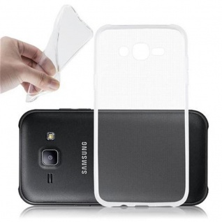 Cadorabo Hülle für Samsung Galaxy J7 2015 in VOLL TRANSPARENT - Handyhülle aus flexiblem TPU Silikon - Silikonhülle Schutzhülle Ultra Slim Soft Back Cover Case Bumper