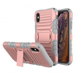 Cadorabo Hülle für Apple iPhone X / XS in ROSÉ GOLD ? Handyhülle mit Standfunktion - Hard Case TPU Silikon Schutzhülle für Hybrid Cover im Outdoor Heavy Duty Design
