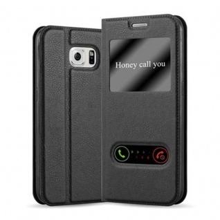 Cadorabo Hülle für Samsung Galaxy S6 in KOMETEN SCHWARZ - Handyhülle mit Magnetverschluss, Standfunktion und 2 Sichtfenstern - Case Cover Schutzhülle Etui Tasche Book Klapp Style
