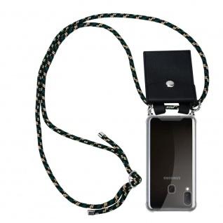 Cadorabo Handy Kette für Samsung Galaxy A20e in CAMOUFLAGE Silikon Necklace Umhänge Hülle mit Silber Ringen, Kordel Band Schnur und abnehmbarem Etui Schutzhülle