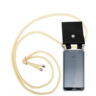 Cadorabo Handy Kette für Huawei P9 in CREME BEIGE - Silikon Necklace Umhänge Hülle mit Silber Ringen, Kordel Band Schnur und abnehmbarem Etui - Schutzhülle
