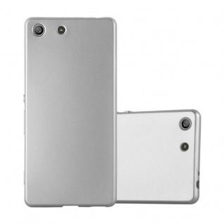 Cadorabo Hülle für Sony Xperia M5 - Hülle in METALLIC SILBER ? Handyhülle aus TPU Silikon im Matt Metallic Design - Ultra Slim Soft Backcover Case Bumper