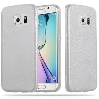 Cadorabo Hülle für Samsung Galaxy S6 EDGE - Hülle in STERNENSTAUB SILBER ? TPU Silikon und Hardcase Handyhülle im Glitzer Design - Hard Case TPU Silikon Schutzhülle