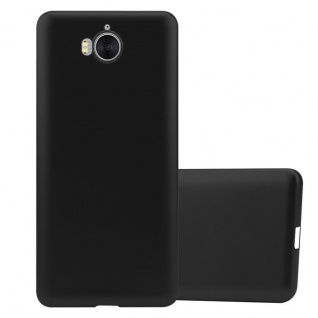 Cadorabo Hülle für Huawei Y6 2017 in METALLIC SCHWARZ - Handyhülle aus flexiblem TPU Silikon - Silikonhülle Schutzhülle Ultra Slim Soft Back Cover Case Bumper