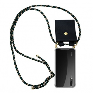Cadorabo Handy Kette für Huawei P20 in CAMOUFLAGE Silikon Necklace Umhänge Hülle mit Gold Ringen, Kordel Band Schnur und abnehmbarem Etui Schutzhülle