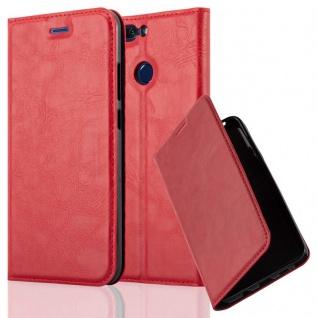 Cadorabo Hülle für Honor 8 PRO in APFEL ROT - Handyhülle mit Magnetverschluss, Standfunktion und Kartenfach - Case Cover Schutzhülle Etui Tasche Book Klapp Style