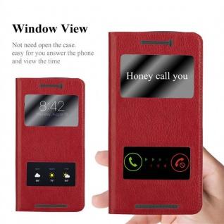 Cadorabo Hülle für HTC One M9 in SAFRAN ROT - Handyhülle mit Magnetverschluss, Standfunktion und 2 Sichtfenstern - Case Cover Schutzhülle Etui Tasche Book Klapp Style - Vorschau 2